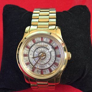 Michael Kors Mid Size Red Glitz Gold Tone Watch